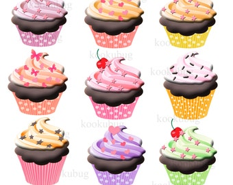Cupcake clipart, cupcakes clip art, digital cupcake, personal and commercial use, instant download, digital clipart