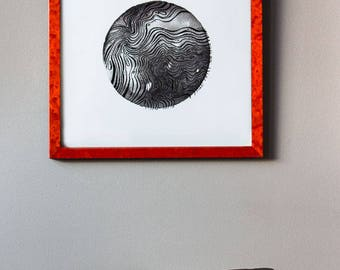 Beneath the Waves i, art print, home decor, geometric, minimalist, simple , ink art, black and white, abstract art