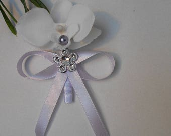 Boutonniere, brooch for wedding - silver and white with Orchid purple