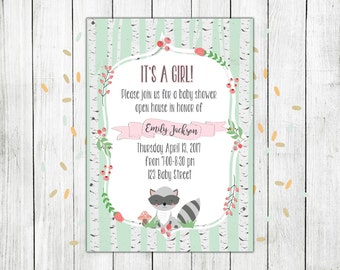 Woodland baby shower, woodland baby shower invitation, baby shower invitation, baby girl shower invitation, woodland girl baby shower