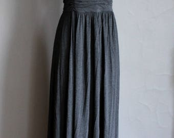 Designer Shelli Segal Couture 0ne Shoulder Maxi Gown Dress Grey Gray Knit Lined Toga