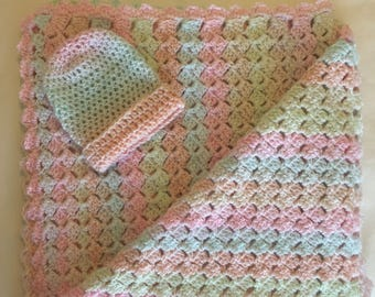 """Baby Afghan with Matching Hat   """"Bubbles"""""""
