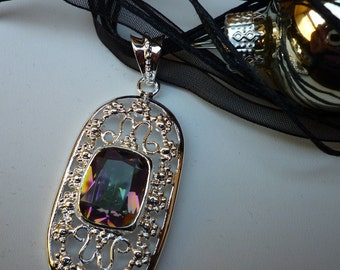 Silver plated necklace and faceted Crystal with a thousand reflections, Rainbow stone