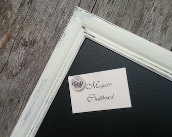 Magnetic Chalkboard Distressed Ivory White Vintage Style Frame 23 x 17 inches - Magnetic Board - Magnetic Board Set - White Chalkboard