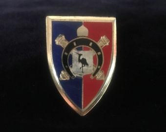 Vintage Drago Paris French Foreign Legion Enamel Gold Tone Shield Pin w/ Crane
