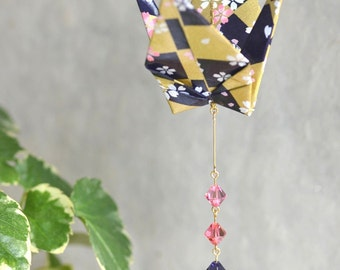 Origami Crane Suncatcher - purple and gold Japanese paper with flowers, hand varnished, with brilliant Swarovski crystals
