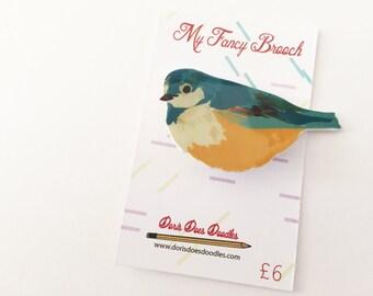 birdy birdy blue tit brooch