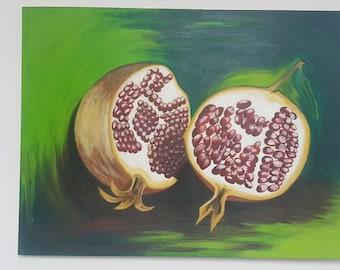 Pomegranate Painting Original Acrylic On Canvas Handmade Pomegranates Red Core Wall Art