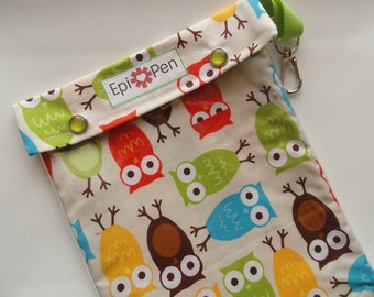 Clearance Pouch XL Epi Pen Carrier w/ Clear Pocket and Clip Holds 2 Allergy Pens / Antihistamine (6x8 Owls in Bermuda Fabric)