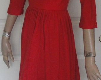 Vintage 60s Ravishing Red Wool Full Skirt Dress Kerrybrooke Sears B36