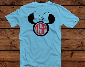 Disney Minnie Mouse Monogram T-Shirt - Hanes 50/50 Short Sleeve T-Shirt