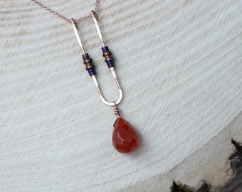 Minimal U Shaped Gold Filled Hematite and Red Agate Necklace