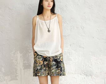 Women cotton and linen vest – Artistic loose tank
