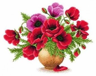 Instant Download Counted Cross Stitch Chart PDF Pattern N33ld - Vase with poppies