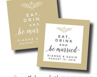 Eat drink and be married sticker, eat drink and be married labels, eat drink and be married favors, harvest wedding stickers, fall wedding