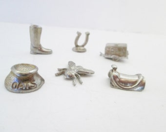 Monopoly Game Pieces, Six Horse Farm tokens, from Horse-opoly Board, Pewter equestrian, Saddle, Boot, Trailer, Oats, Horseshoe, Horse Fly