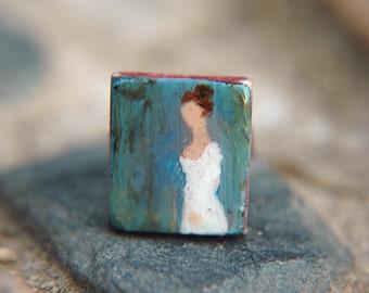 Statement Ring Literary Author Jane Austen  Regency Portrait Hand Painted Adjustable  - Miss Jane Austen