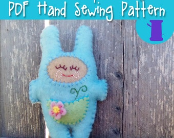 PDF Hand Sewing Pattern - Sprout Snugz Doll - a hand sewing mini stuffie design, wool felt, hand embroidery, stuffed toy, plush, pocket doll