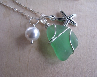 Pretty Green Sea Glass Wire Wrapped Pendant with Starfish and Pearl Green Beach Glass Necklace