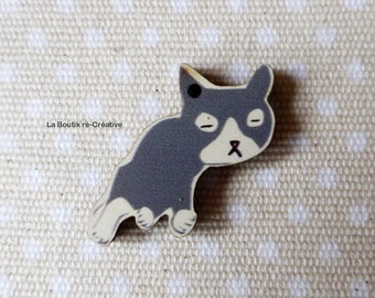 1 x wooden sleeping cat grey & white 35mm pendant bead!