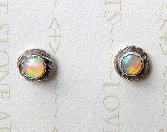 Natural Ethiopian Opals in a Textured Sterling Post, Opal Stud Earrings, Fire Opal, AAA+ 4mm E137