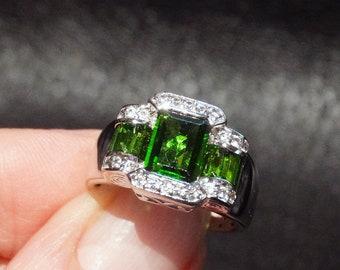 Siberian Emerald Ring, Art Deco Style, Platinum over Sterling, White Topaz