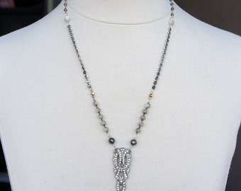 Upcycled Vintage Rhinestone Dress Clip Necklace with Mother of Pearl, Pyrite and Silver