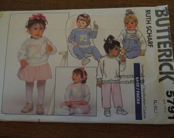 Butterick 5791, sizes L-XL or 22-30#, childrens, dress, top, pants, overalls