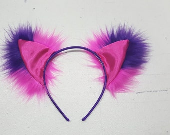 Pink and Purple Striped Cheshire Cat Ears Furry Cosplay Rave Outfit Gifts For Her   Gifts Under 20   Gifts for Kids