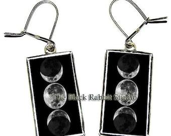 Triple Moon Goddess Earrings, Triple Moon Goddess Jewelry, Full moon earrings, glass earrings,teacher's gift, Hypoallergenic Earrings