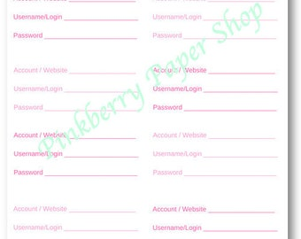 Password Log for Websites and Accounts | INSTANT Digital Download | 8.5 x 11 |