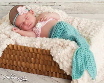 Newborn Mermaid Prop/ Mermaid Tail/ Baby Girl Photo Prop/Mermaid Baby/Aqua Mermaid Tail/Halloween Costume / Little Mermaid/ Ocean Nursery