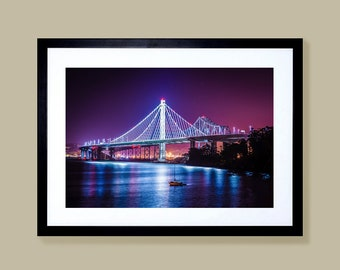 Fine art limited edition canvas prints of the old and new Bay Bridge in San Francisco