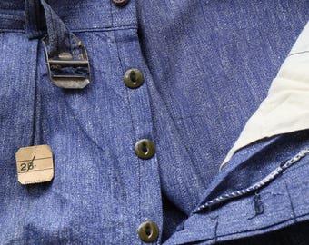 Vintage 1940s 40s Boys Work Pants BLUE Salt & Pepper Chambray NOS 10 Deadstock