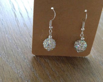 Pave Crystal Ball Dangle Earrings, Silver Earrings, Crystal Ball Beads, Dangle Earrings