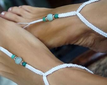 Beach Wedding Barefoot Sandals, Bridal Barefoot Sandal, Aquamarin Gemstone Anklet, 1 Pair