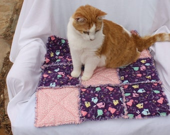 Cat Bed, Cat Blanket, Cat Quilt, Cat Accessories, Pet Bedding, Luxury Cat Blanket, Purple Cat Blanket, Pet Supplies Pet Blanket, Travel Bed