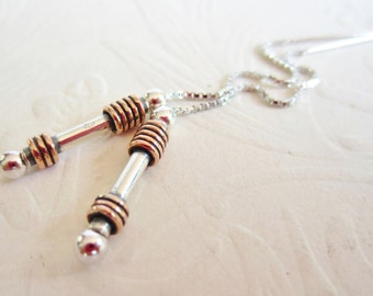 Ear Threads-Sterling Silver and Copper-Mixed Metals