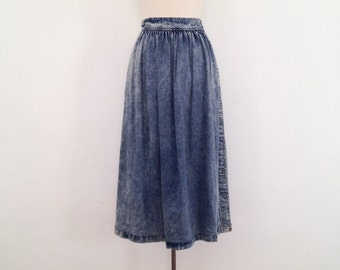 denim midi skirt vintage full denim skirt small 80s skirt acid wash 1980s calvin klein 80s clothing