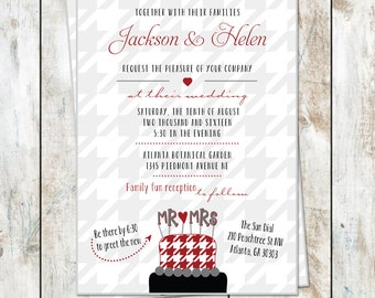 Houndstooth Wedding Invitations - Fun Houndstooth Cake Invitation - Crimson Tide Announcement