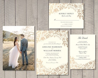 Gold Floral Wedding Invitation, RSVP, Details Card (Printable) by Vintage Sweet