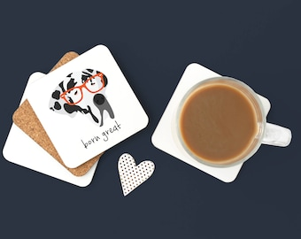 Personalized Great Dane Coasters, Great Dane Gifts, Custom Great Dane Gifts, Great Dane Coasters, Great Dane with Glasses Coaster (Set of 2)