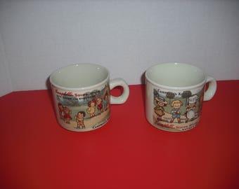 Vintage Campbell's Kids Soup Mugs, Set of 2