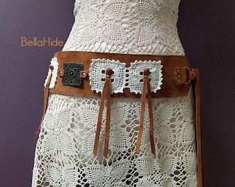 Leather hip belt, crochet concho belt, boho tassel belt, tan suede tie up belt, hippie belts, bohemian belts, 70s style belt, womans belt