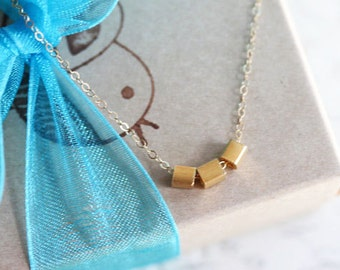 Gold Geometric Necklace Three Square Cube Necklace Three Sister Necklace Gold Filled