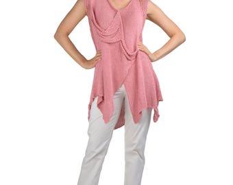Reversible Open Weave Knit Tunic Vest
