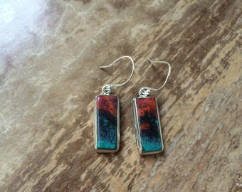 925 Sterling silver Chrysocolla Cuprite gemstone earrings