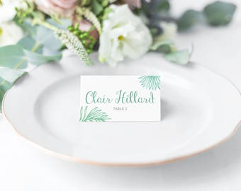 Palm Leaf Wedding Place Cards Printable Place Cards Place Card Template Place Card Beach Weddings  Destination Wedding Tropical Leaf