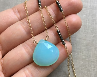 Aqua Chalcedony and Pyrite Necklace, Faceted Chalcedony Pendant, Staggered Pyrite Beaded Necklace, Asymmetrical Gemstone Jewelry, Bohemian