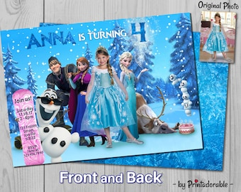 Frozen Birthday Invitation - Elsa Invite - Disney Printables, Fully Customizable with Olaf, Kristoff and Sven - Front and Back